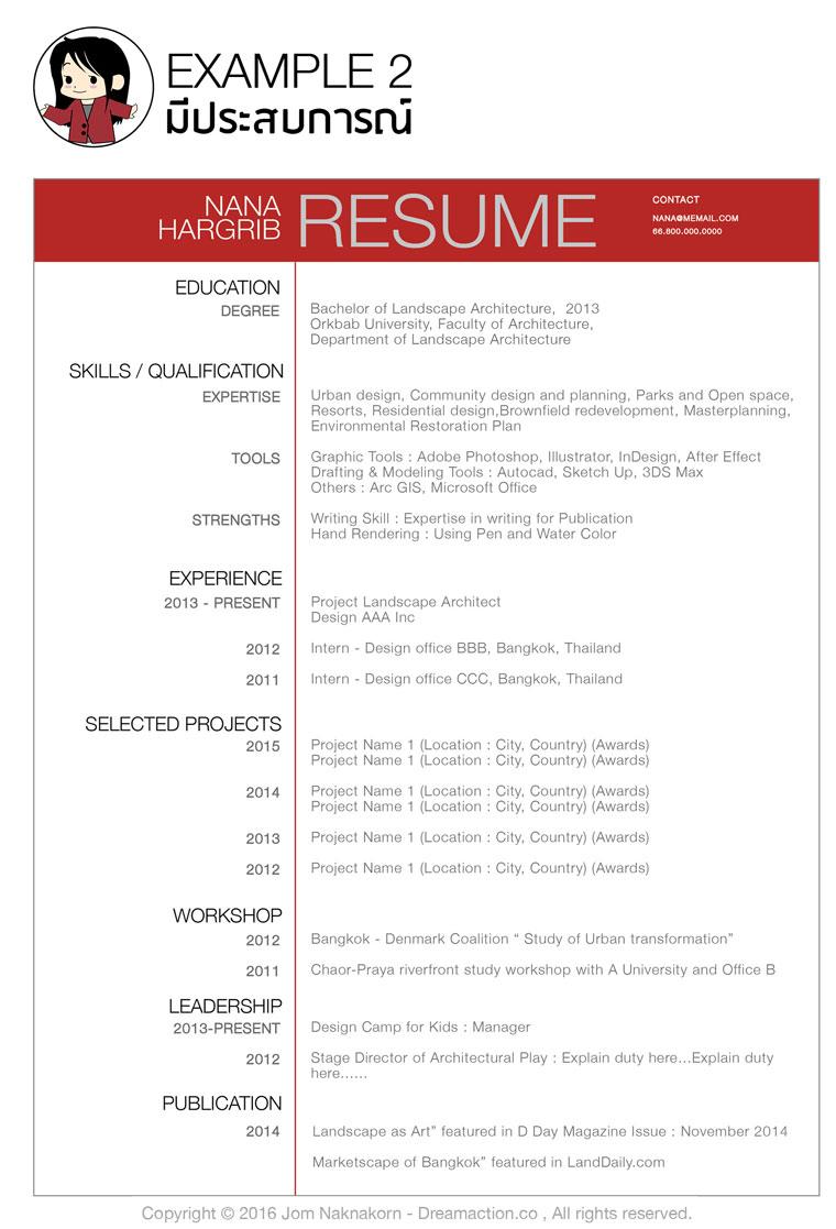 ตัวอย่างเรซูเม่ หางาน resume