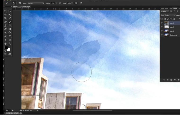 Photoshop Tutorials ทำภาพสีน้ำ ทำperspective effect ใส่เอฟเฟค