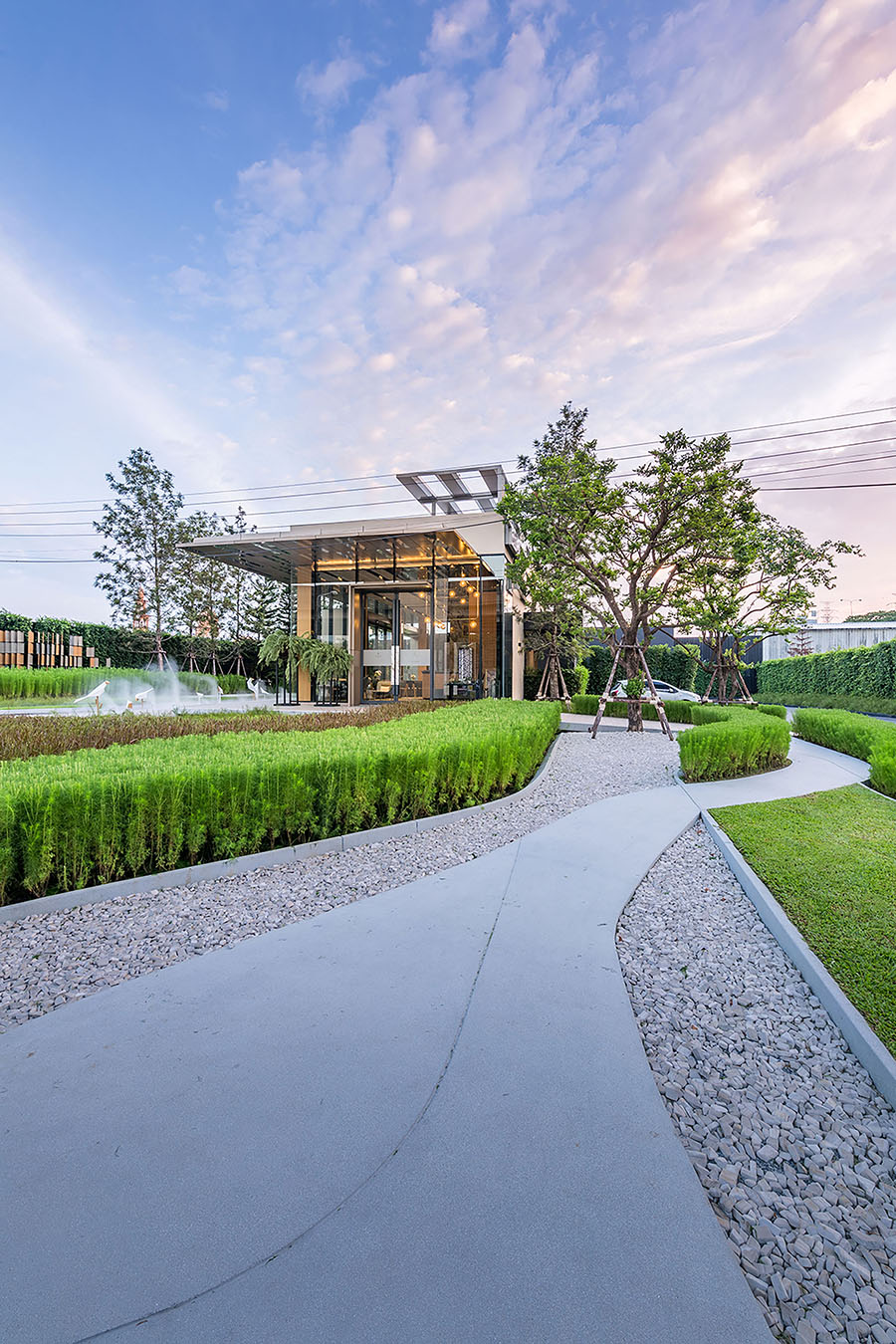 Strategies การออกแบบ Sales Gallery  The base by sansiri VVdesine landscape architect